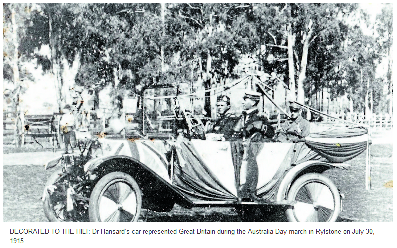 Hansards car Australia Day 1915