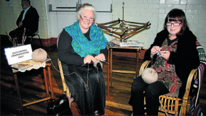 Gemma and Margo from the Convent and Chapel Wool Shop demonstrating the art of sock knitting. They'll be at the exhibition each day.